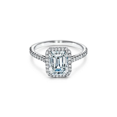 Tiffany Soleste® Emerald-cut Halo Engagement Ring with a Diamond Platinum Band
