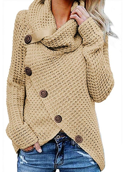 Chunky Button Turtle Cowl Neck Asymmetric Hem Wrap Pullover Sweater