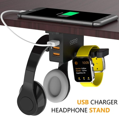 Cozzo Under Desk Headphone Stand and Charger