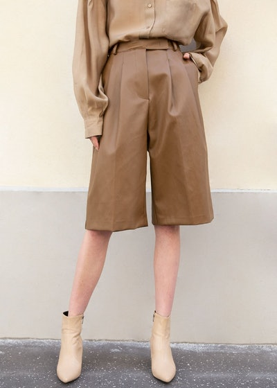 Brown Faux Leather Trousers