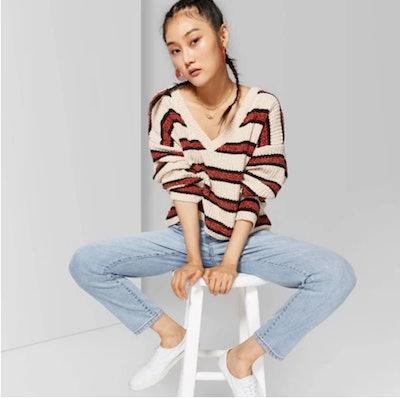 Women's Striped Long Sleeve V-Neck Sweater - Wild Fable™ Beige/Brown