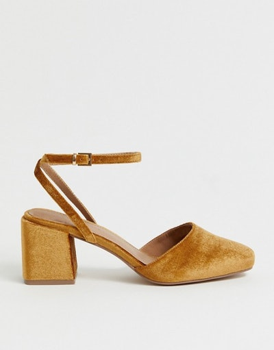 Salvation Square Toe Block Heeled Mid Shoes In Rust Velvet