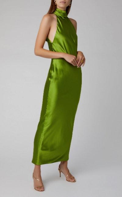 Silk-Satin Halterneck Gown