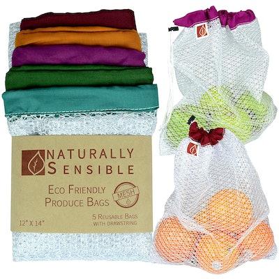 Naturally Sensible Nylon Mesh Reusable Produce Bag (5-Pack)