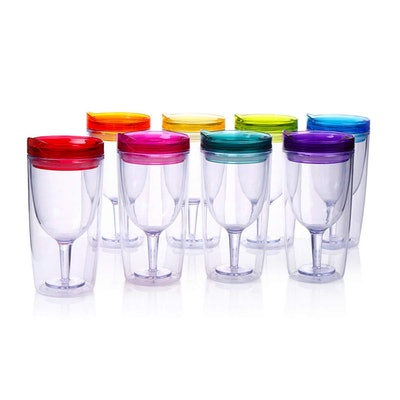 Cupture Insulated Wine Tumbler Cup With Drink-Through Lid (Set Of 8)