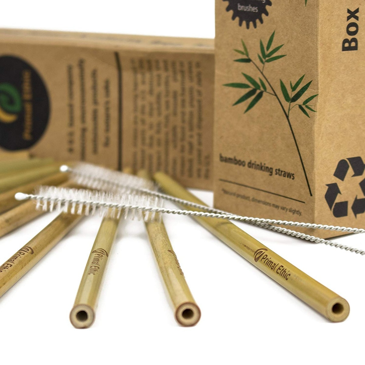 Reusable Bamboo Drinking Straws by Primal Ethic (12 Pack)