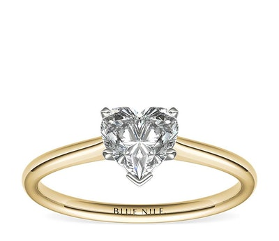 1ct Heart Solitaire Engagement Ring in 18k Yellow Gold