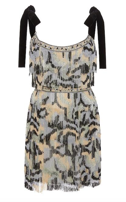 Good Times Beaded Crepe Mini Dress