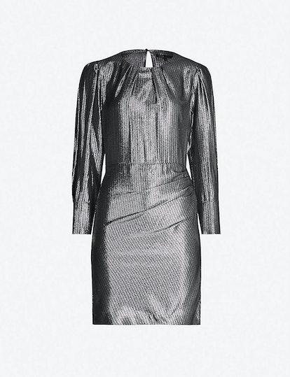Iridescent Metallic Puffed-Sleeve Dress