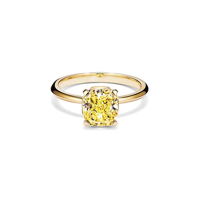Tiffany True Engagement Ring with a Cushion-cut Yellow Diamond in 18k Yellow Gold
