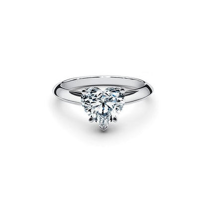 Heart-Shaped Diamond Engagement Ring In Platinum