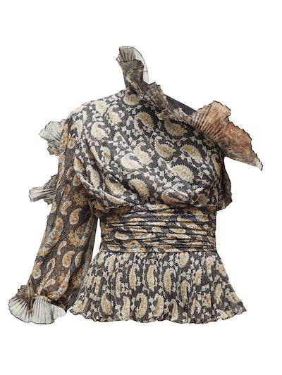 Aditi Plissé-Trimmed Paisley-Print Silk Top