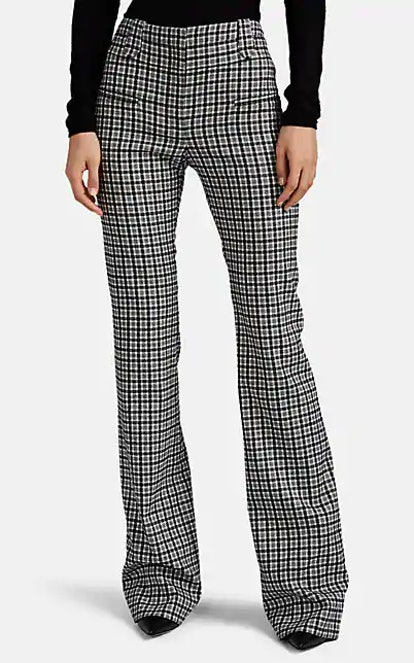 Serge Plaid Flannel Straight Trousers