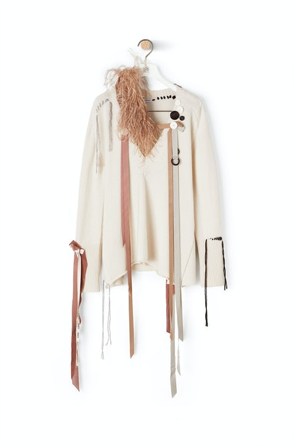 Vneck Sweater Feather Ribbons Ecru