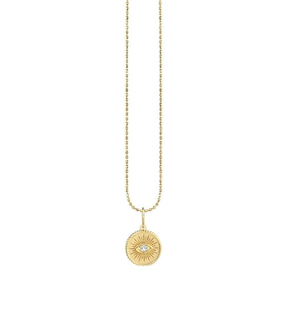 Small Yellow Gold & Diamond Marquis Eye Coin Necklace