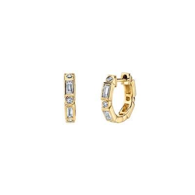 Gold & Diamond Baguette And Round Bezel Huggie Hoops
