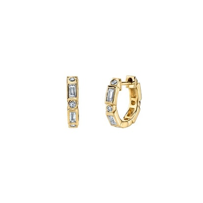 Gold & Diamond Baguette And Round Bezel Huggie Hoops