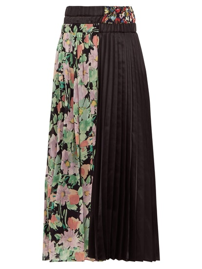 Floral-Print Crepe And Satin Pleated Skirt