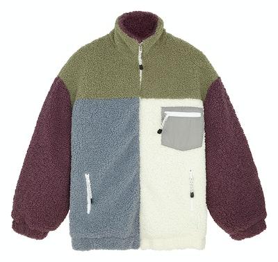 ASOS DESIGN Curve Patchwork Fleece Hero Jacket