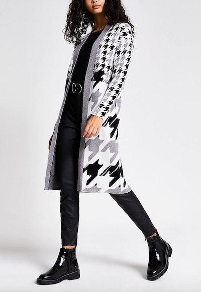 Grey Printed Knitted Longline Cardigan