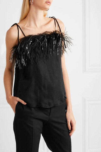 Favour Feather-Trimmed Satin Camisole