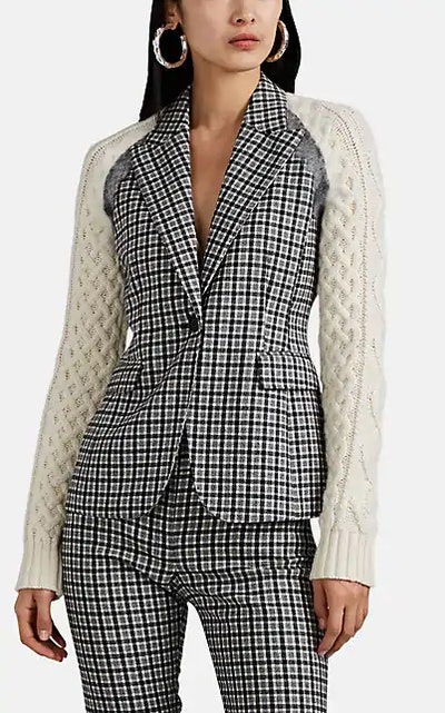 Hester Mixed-Media One-Button Blazer