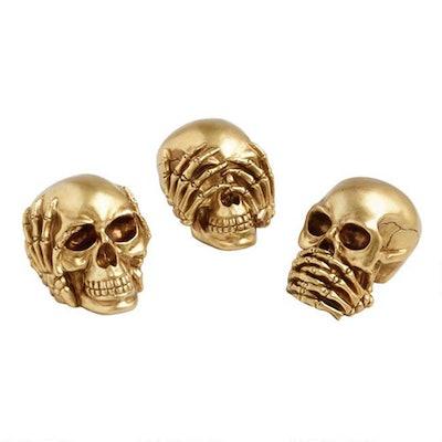 Gold No Evil Skull Decor Set Of 3