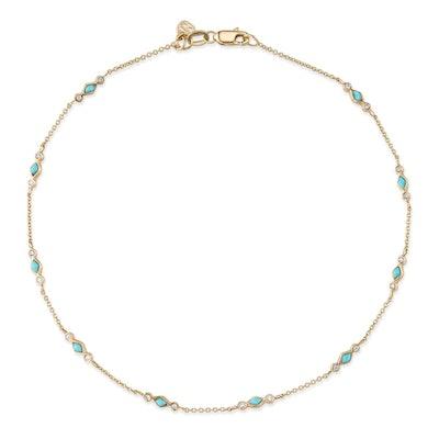 Yellow Gold & Bezel Diamond Turquoise Anklet