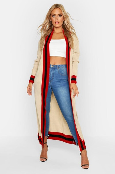 Plus Stripe Maxi Length Cardigan