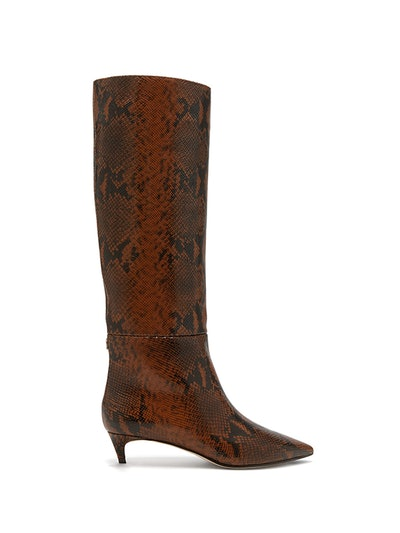 Maxima 35 Python-Effect Leather Knee-High Boots