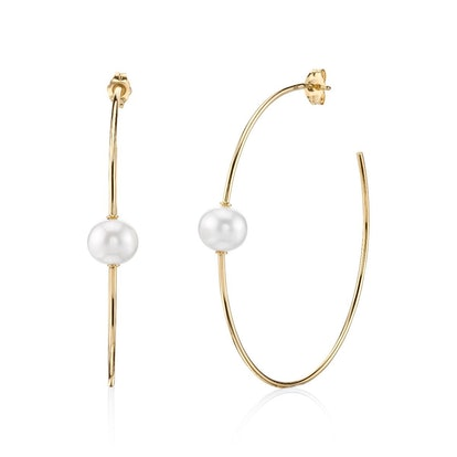 Large Yellow-Gold Single Pearl Hoops