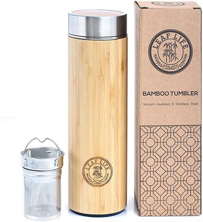 LeafLife Original Bamboo Tumbler With Tea Infuser And Strainer