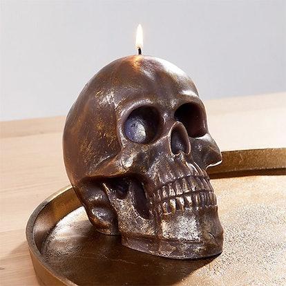 Metallic Black Skull Candle