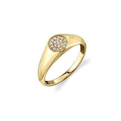 Gold & Diamond Mini Oval Pave Signet Ring