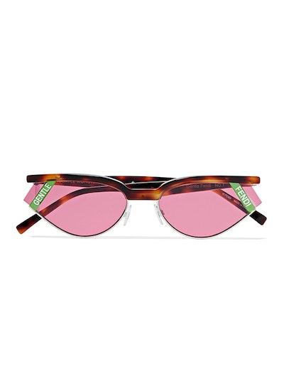 Gentle Fendi Cat-Eye Tortoisehell Acetate And Silver-Tone Sunglasses