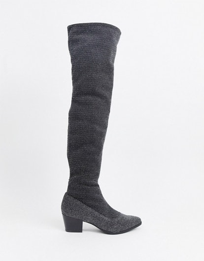 Monki glitter over the knee boots in silver