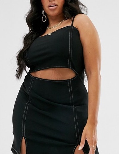 Saint Genies Contrast Stitch Mini Dress With Cutout In Black
