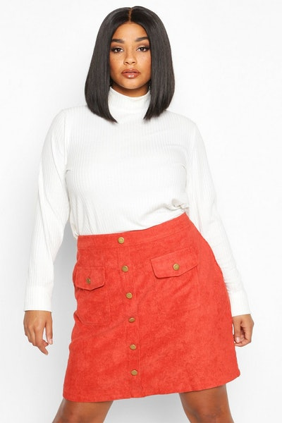 Plus Chunky Cord Pocket Front Mini Skirt