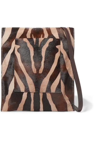 Leather-Trimmed Zebra-Print Calf Hair Shoulder Bag