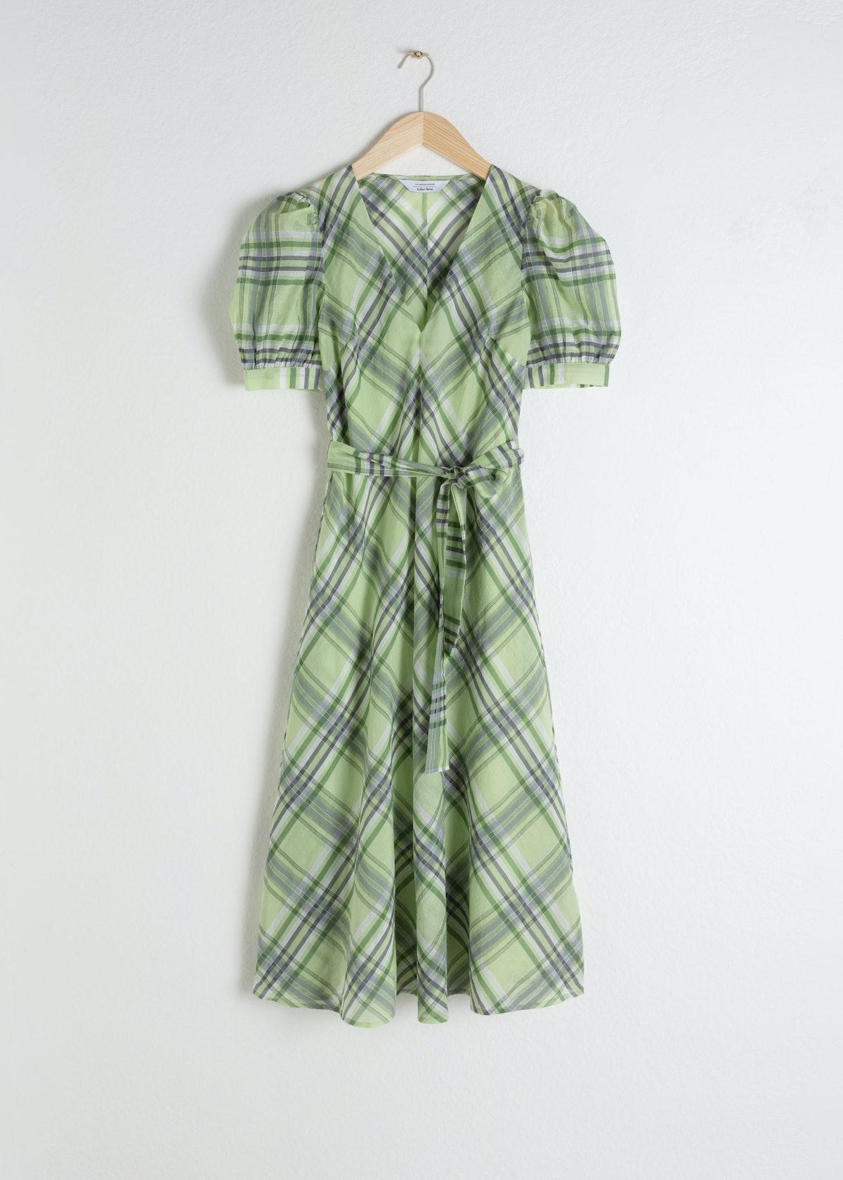 Cotton Silk Blend Plaid Dress