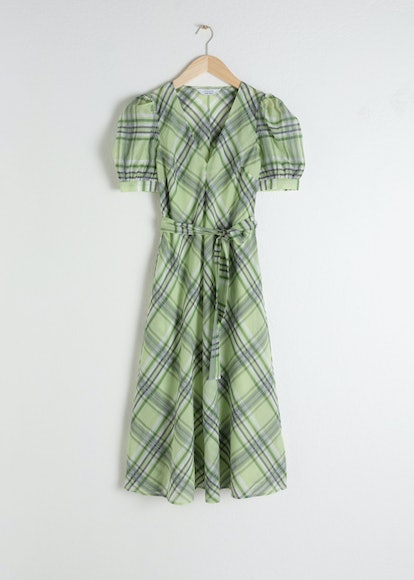 Cotton Silk Blend Plaid Dress