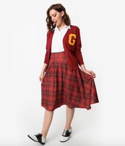 Retro Maroon Red Plaid High Waist Vivien Swing Skirt