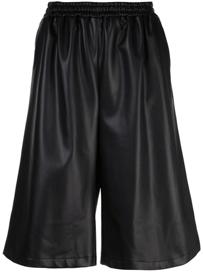 Faux Leather Long Short