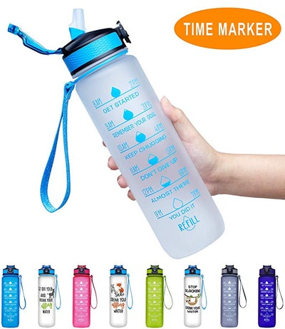 Giotto Water Bottle With Time Marker & Straw