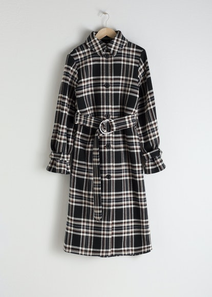 Belted Plaid Trench Coat