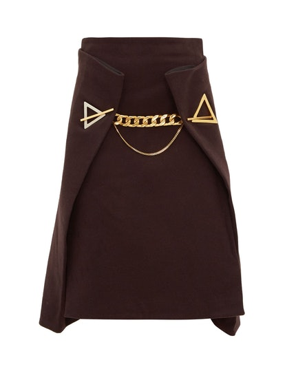 Chain-Embellished Cashmere Skirt