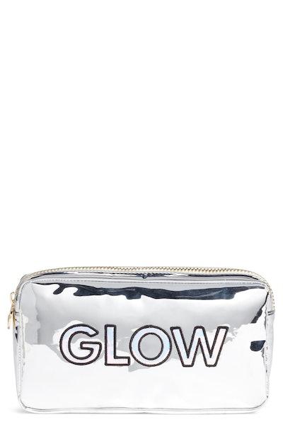 Stoney Clover Lane Glow Small Silver Patent Cosmetics Bag