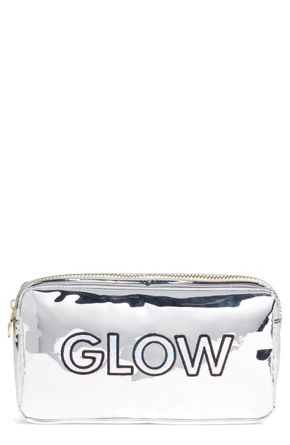 Stoney Clover Lane Glow Small Silver Patent Cosmetics Bag