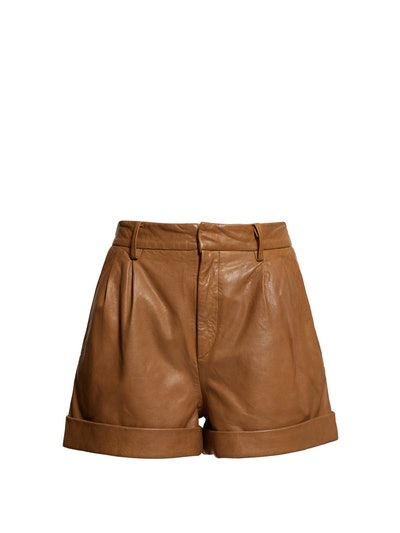 Abot High-Rise Washed Leather Shorts