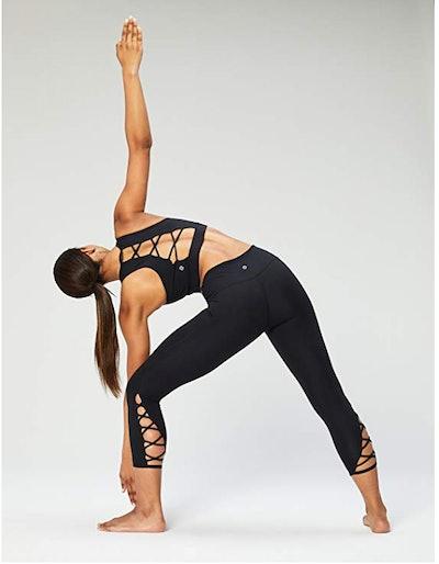 Core 10 Lattice Strappy Back Longline Yoga Sports Bra